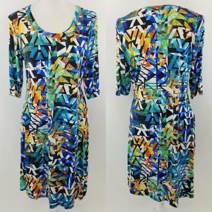 Investments green blue 3/4 sleeve dress size Large